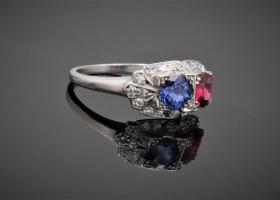 Art Deco, Sapphire and Ruby Ring