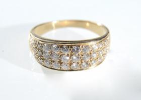 Vintage three row diamond set band in 14kt yellow gold