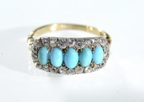 Victorian turquoise and diamond cluster ring set in silver on gold