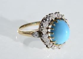 1930s turquoise and diamond coronet cluster ring in 18kt yellow gold