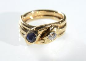 Victorian sapphire and diamond double serpent ring