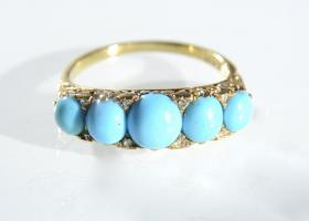 Victorian Persian turquoise and diamond carved ring