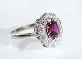 Vintage Thai ruby and diamond coronet cluster ring
