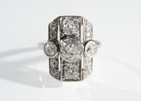 Art Deco diamond shield ring in platinum