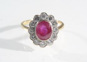 1930s ruby and diamond floral cluster ring