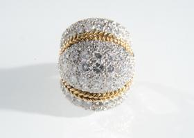 1960s 18kt gold diamond bombé cluster ring