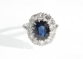 Sapphire and diamond coronet cluster ring