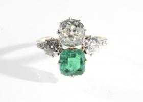 Edwardian emerald and diamond two stone ring