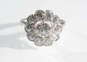 Vintage diamond floral cluster ring in platinum