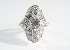 1920s elongated diamond cluster ring in platinum