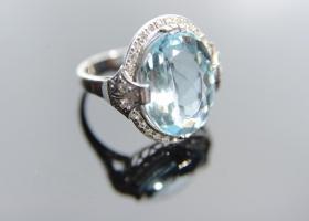 Platinum and diamond aquamarine ring