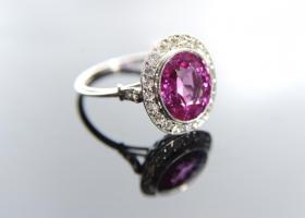 Natural pink sapphire and diamond ring.