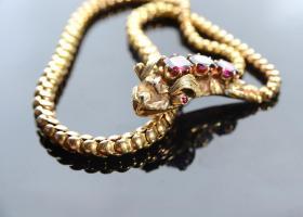 Almandine garnet serpent necklace