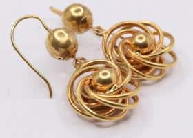 15kt Gold Victorian Knot Earrings