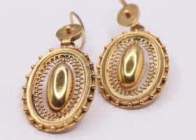 15kt Gold Victorian Oval Earrings