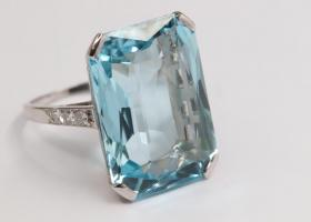 Art Deco Mixed Cut Aquamarine