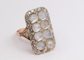Victorian Moonstone and Diamond Ring