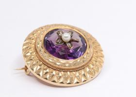 Antique french amethyst brooch