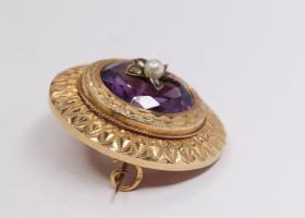 Antique french amethyst brooch
