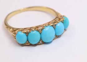 Antique turquoise and diamond five stone ring
