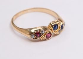 Antique sapphire ruby and diamond ring