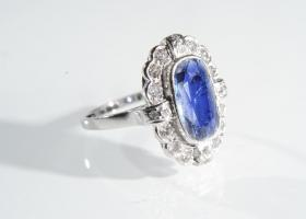 French sapphire and diamond oblong cluster ring