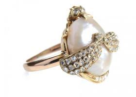 French Art Nouveau praying mantis pearl and diamond ring