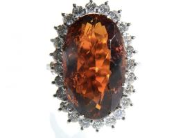 Impressive faceted amber and diamond cluster ring