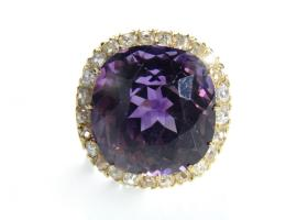 Pre-revolution Russian amethyst and diamond cluster ring