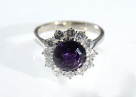 1970s amethyst and diamond coronet cluster ring
