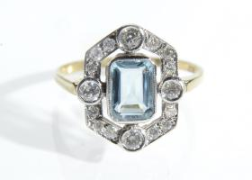 Art Deco style aquamarine and diamond openwork cluster ring