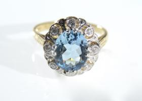 18kt yellow gold aquamarine and diamond cluster ring