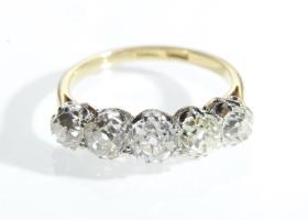 Edwardian five stone Old Mine cut diamond 18kt yellow gold ring