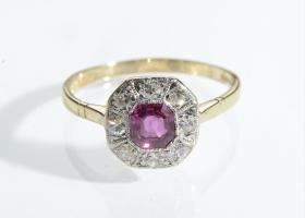 Edwardian Burma ruby and diamond octagonal cluster ring