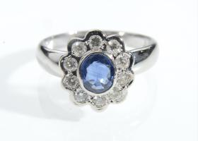 Contemporary sapphire and diamond floral cluster ring