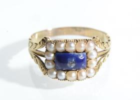 Georgian diamond, blue enamel and pearl memorial ring
