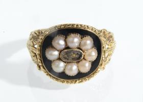 Georgian pearl and black enamel memorial ring