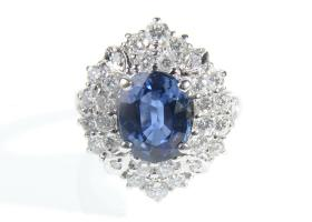 Retro sapphire and diamond cluster ring in 18kt white gold