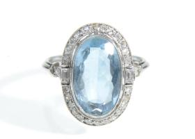 Art Deco aquamarine and diamond oval cluster ring