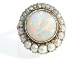 Georgian opal and pearl cluster ring in rose gold