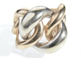 14kt white and rose gold articulated open chain ring