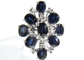 Contemporary 14kt white gold and sapphire stylised cluster ring