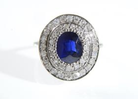 Vintage sapphire and diamond double row cluster in platinum