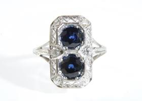 1920s sapphire and diamond two stone plaque ring