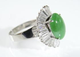 1970s Jade and diamond ballerina cluster ring in platinum