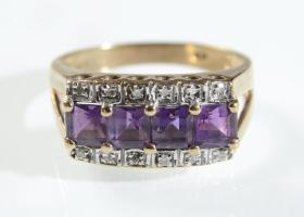 Amethyst and diamond dress ring in 9kt yellow gold