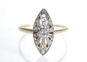 Art Deco diamond marquise cluster ring in 18kt yellow gold