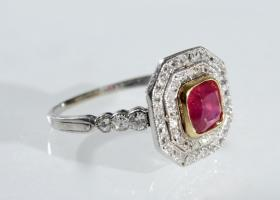 Platinum Art Deco ruby and diamond double row cluster ring
