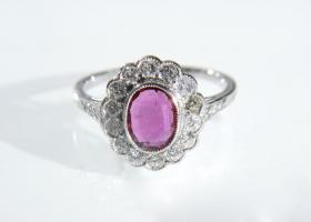Vintage ruby and diamond floral cluster ring in 18kt white gold