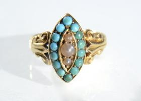 Antique seed pearl and turquoise marquise cluster ring